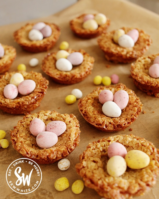 Flapjack Easter Nests topped with mini eggs chocolate easter eggs