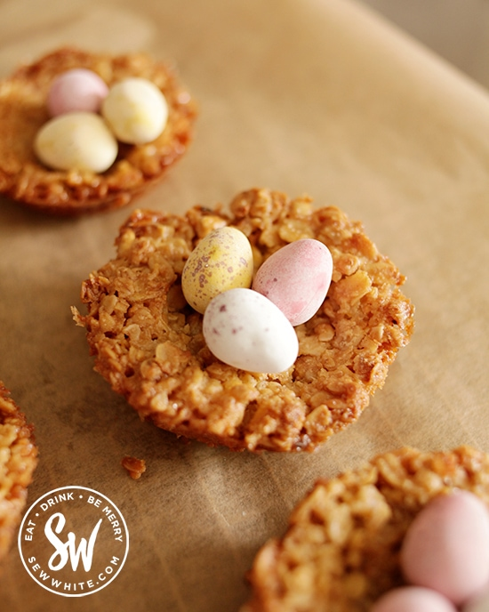 Easy Easter treats to make at home using mini eggs. Flapjack Easter Nests