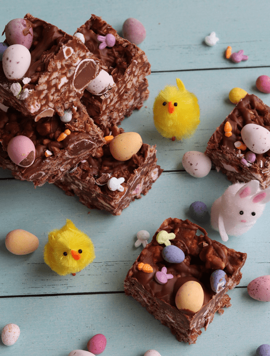 Mini Egg Rice Crispy Squares by Curlys Cookin in the 25 Recipes Using Mini Eggs