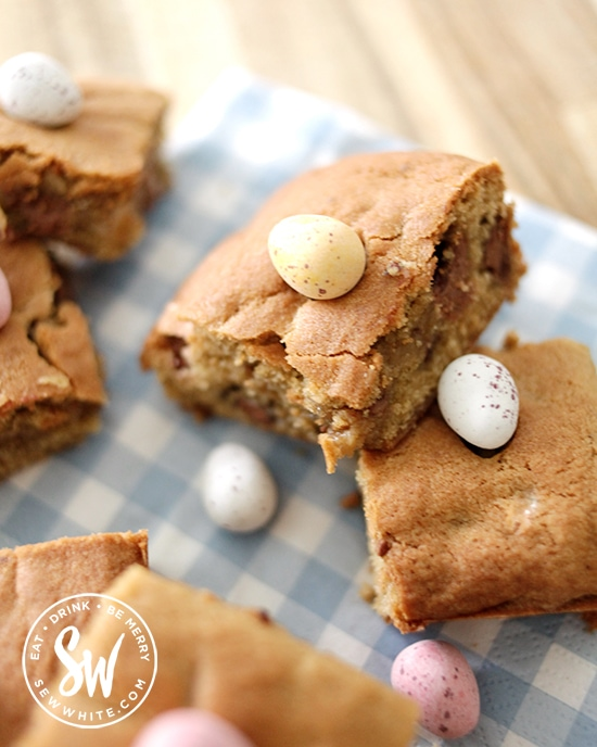 chunky Easter cookie with mini eggs perfect for making at home with pantry ingredients