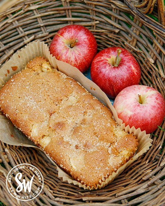 freshly baked apple ginger cake covered in sugar and ready to eat.