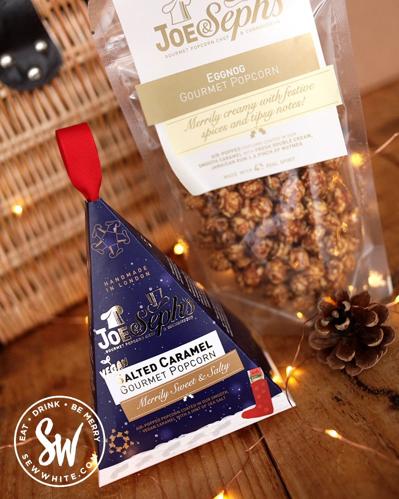 Stocking filler presents from Joe & Steph's popcorn in blue packaging in the Eat gift guide for Sew White