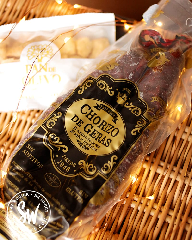 The Ojos Foods Chorizo De Geras charcuterie in packaging for the Eat gift guide