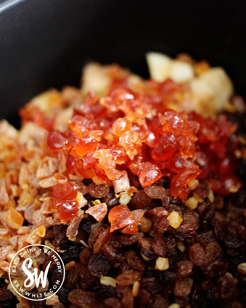 glacé cherries in the mincemeat mix