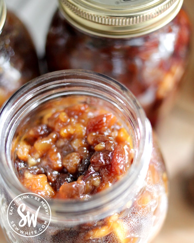 close up of vegan mincemeat in a kilner jar after being cooked in the slow cooker.