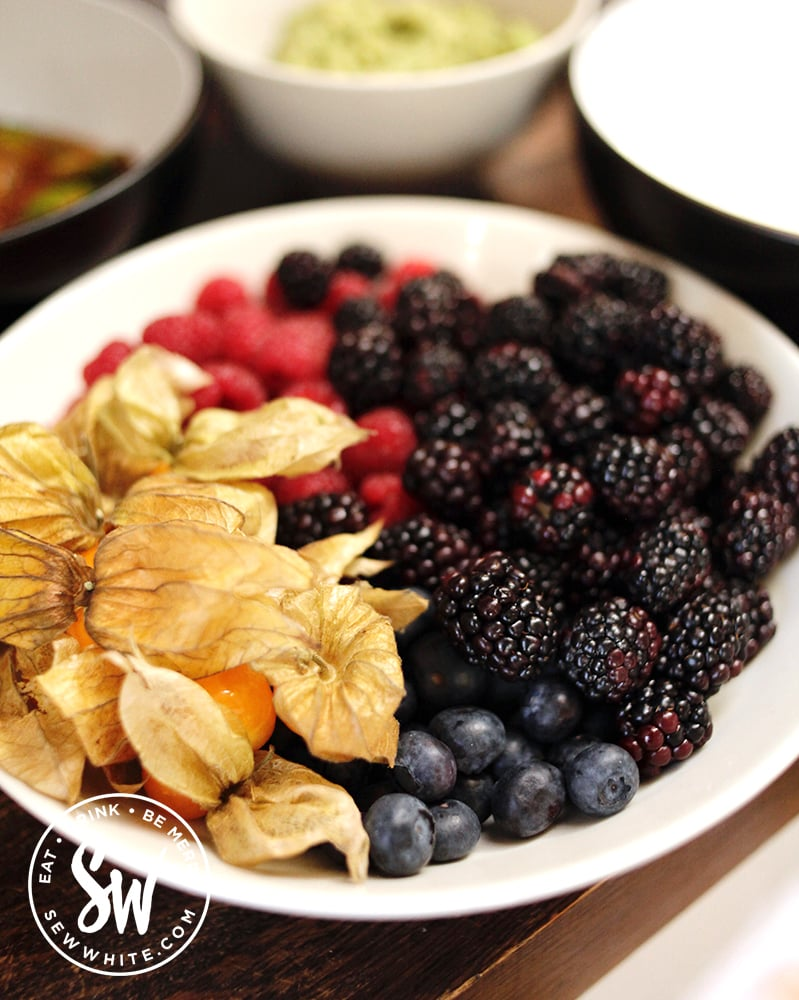 Fresh berries and fruit in a bowl ready for pancake day
