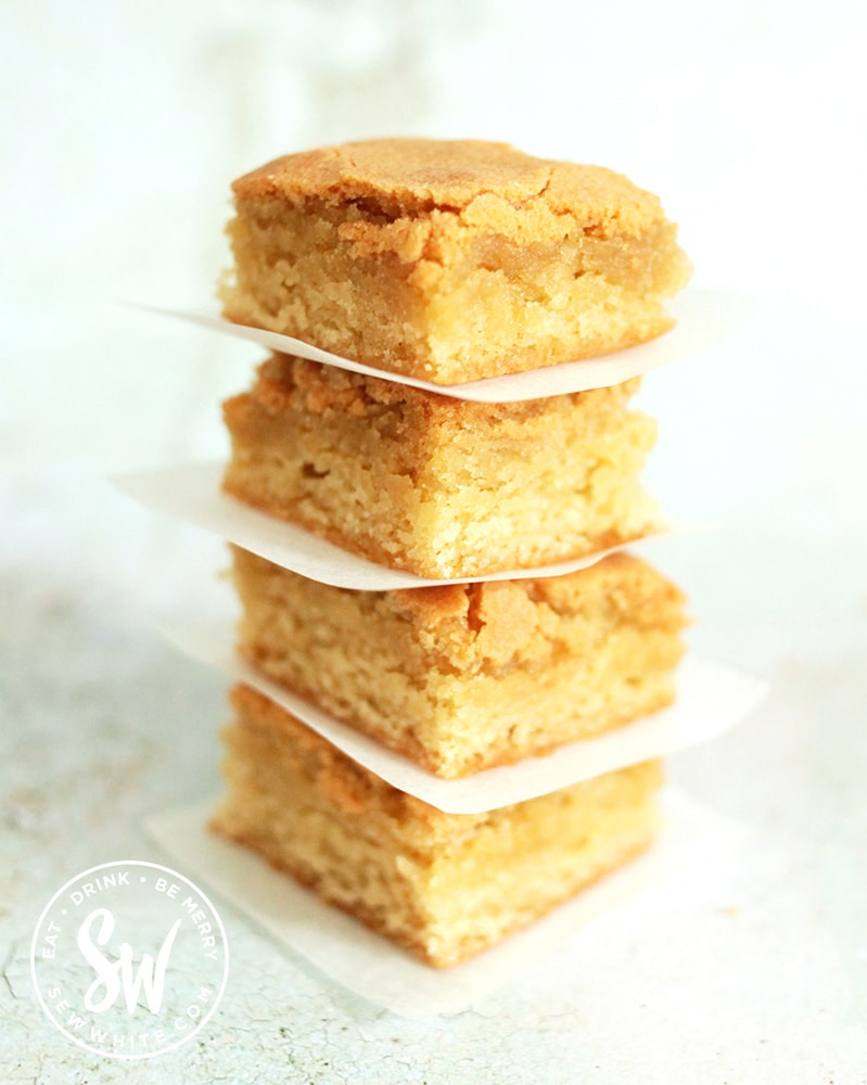 Stacked golden blondies fresh from the oven using the Easy Blondie Recipe