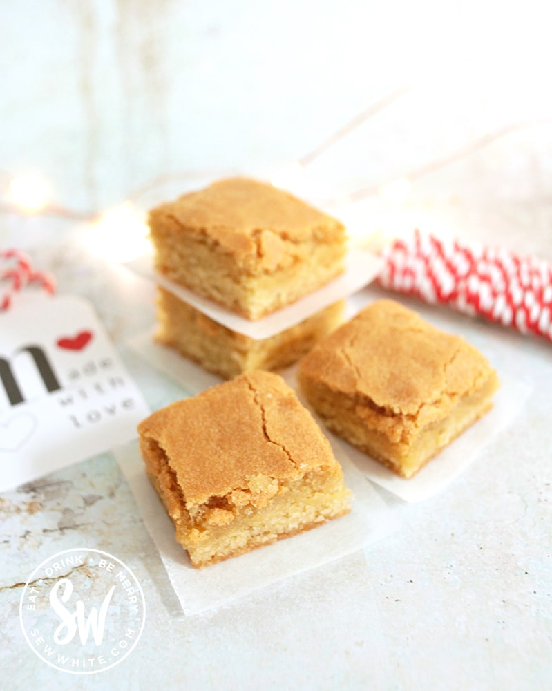 Packaging slices of the Blondie Recipe bake with greaseproof paper and string