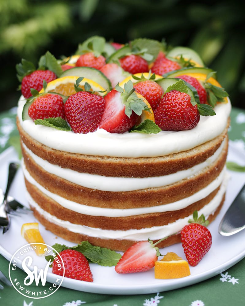 Pimms cake surrounded by fresh pimms fruit.