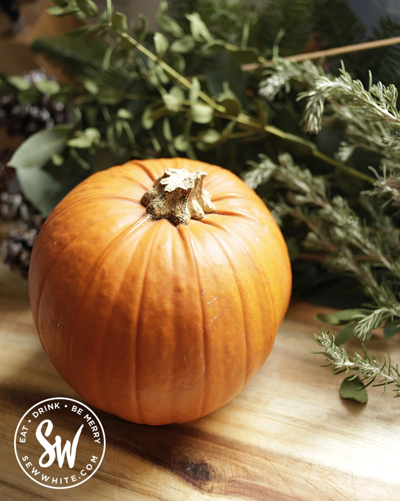 how to cook pumpkin guide - pumpkin on a chopping board with green foliage behind