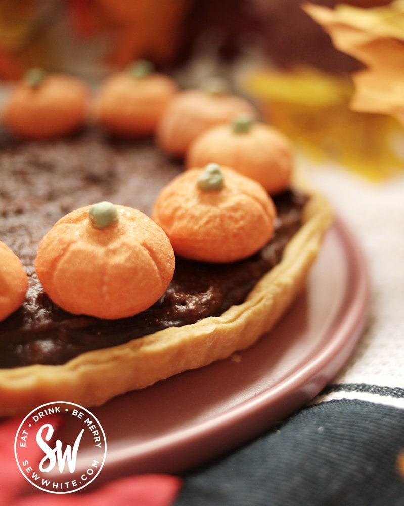 chocolate pumpkin tart as an easy fall dessert